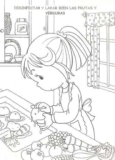 Dibujos Para Colorear Lavando Frutas Y Verduras Impresion