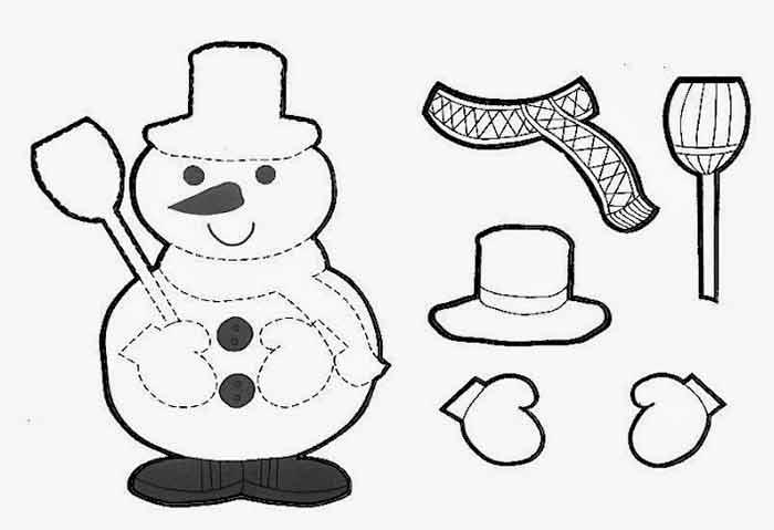 Fichas De Dibujos De Navidad.Muneco De Nieve Recortable Fichas Y Dibujos Navidad