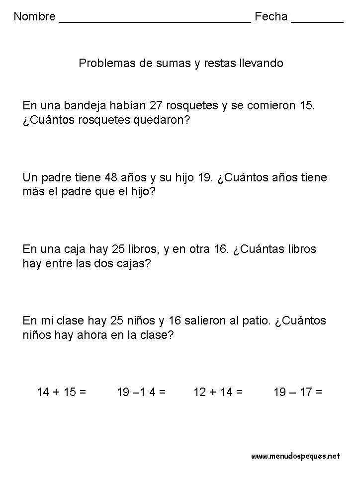 Problemas 10 Sumas Y Restas