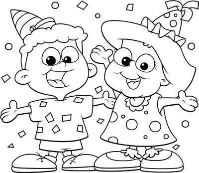 Dibujo Niños Celebrando Cumpleaños