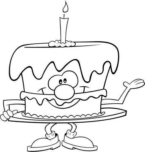 Dibujo de Tarta con Vela - Colorear Cumpleaños