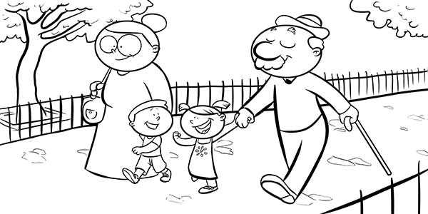 Abuelos con sus Nietos - Colorear día de la Familia