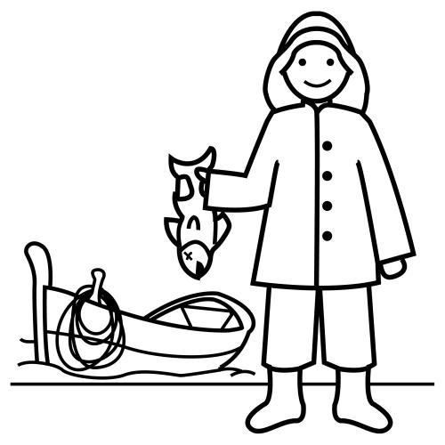 Pescador Dibujos Trabajos Y Profesiones