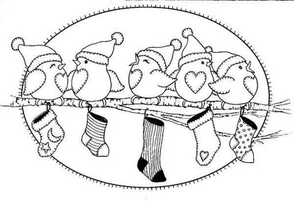 Dibujos pajaritos navideños