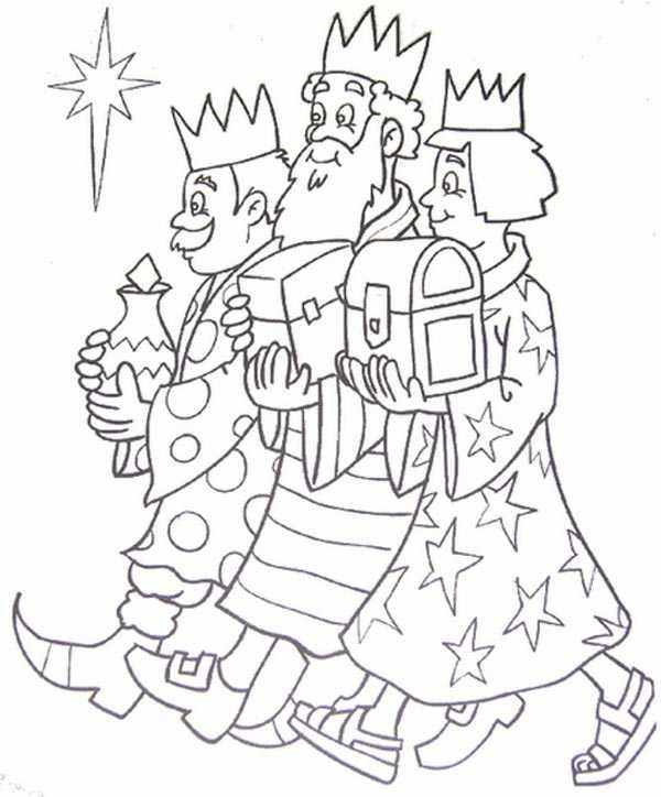 dibujos para colorear a los Reyes Magos Melchor, Gaspar y Baltasar