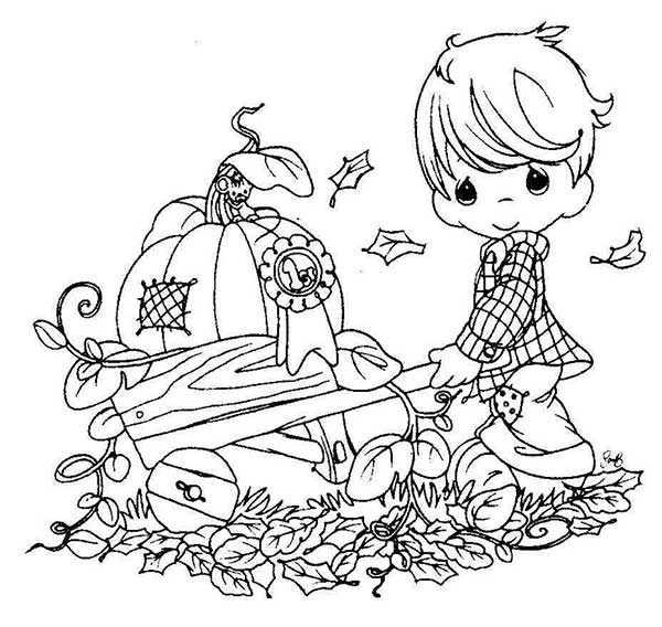 Niño con Carretilla Calabazas para Colorear - Dibujos Otoño