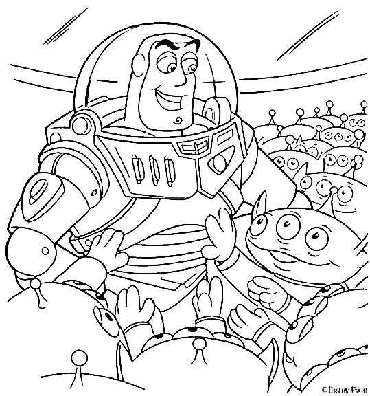 Colorear A Buzz Lightyear Con Marcianos Toy Story