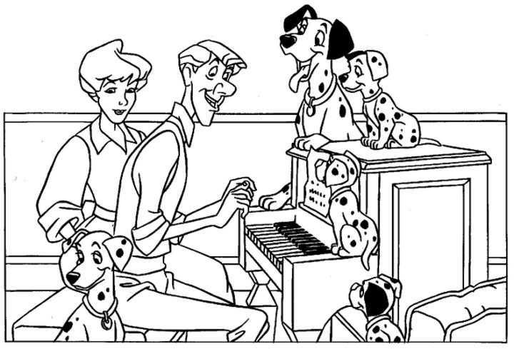 Colorear Dibujo Dálmatas Con Sus Dueños Al Piano
