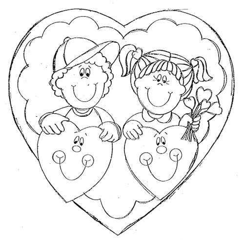 Niños con Corazones - Dibujos para Colorear San Valentín