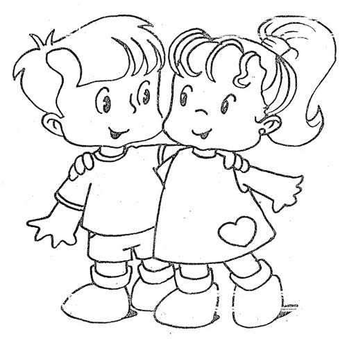 Amigos para Siempre - Dibujos para Colorear San Valentín