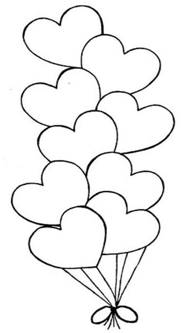 Globos En Forma De Corazón Colorear San Valentín