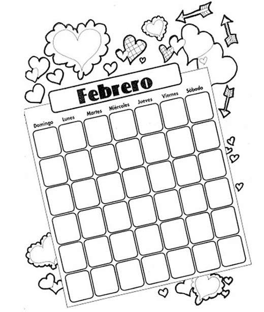Calendario Febrero Dibujos Para Colorear San Valentín