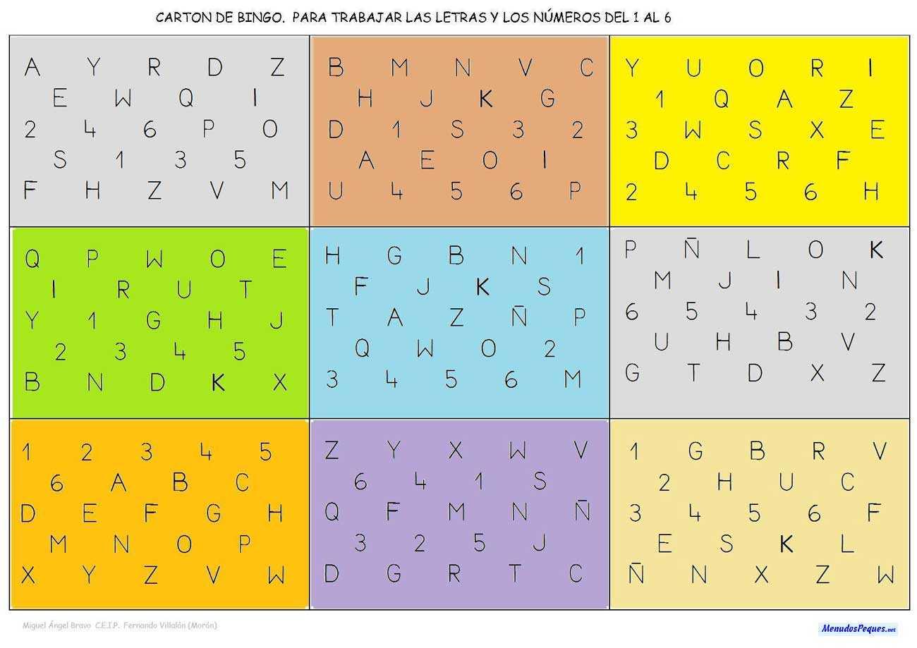 Cartón bingo de letras y números 02