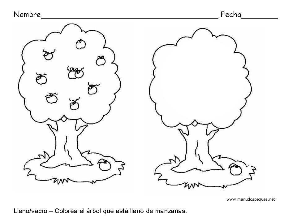 Lleno y vacío, manzanas - Fichas de conceptos básicos