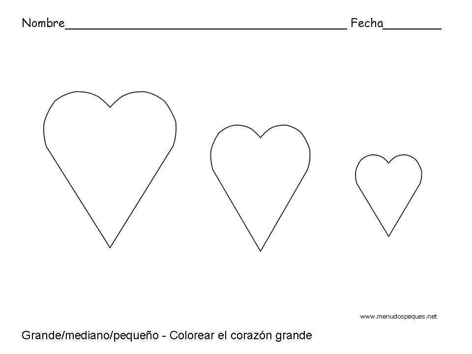 Grande, pequeño y mediano, corazones - Fichas de conceptos básicos