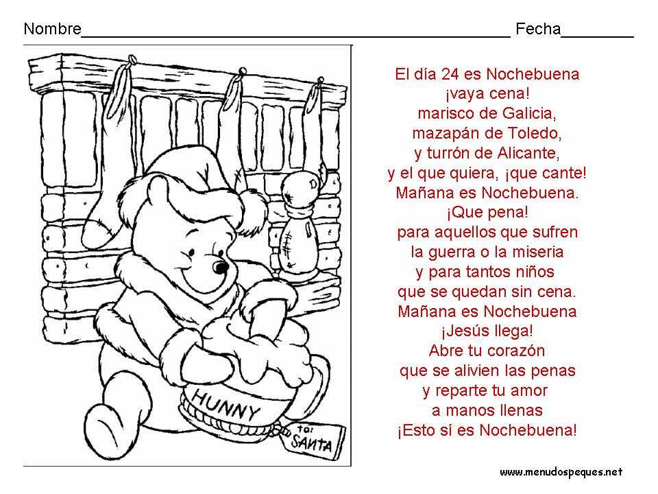 Ficha Infantil Navidad Winnie The Pooh En Navidad