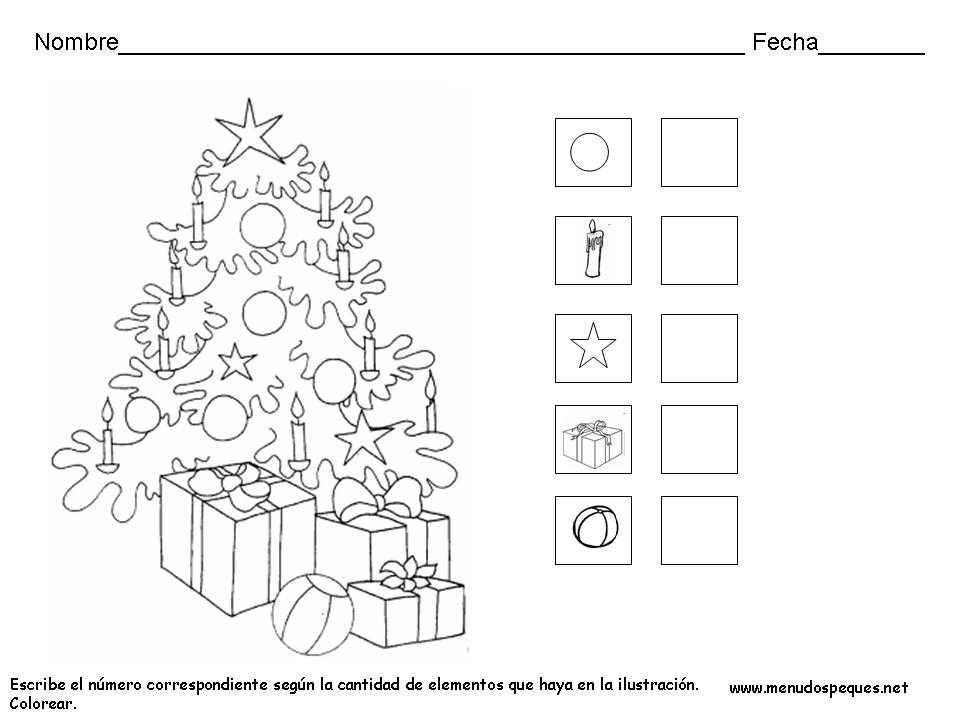 Ficha infantil Navidad: Colorear y contar