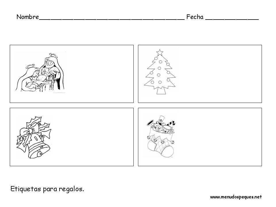 Ficha infantil Navidad: Etiquetas para regalos